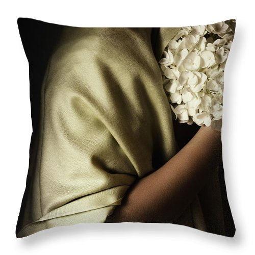 Caucasian Throw Pillow featuring the photograph Shy by Margie Hurwich
