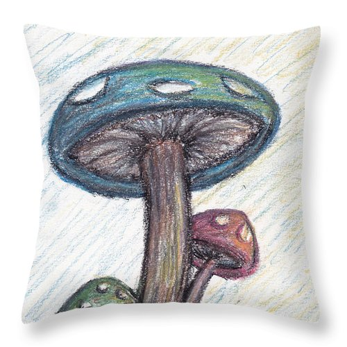 Mushrooms Throw Pillow featuring the drawing Siblings by Andrew Worley