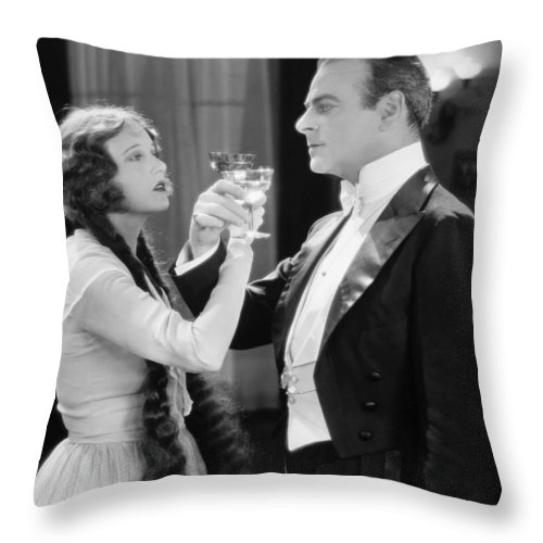 1920s Throw Pillow featuring the photograph Silent Film Still: Drinking by Granger