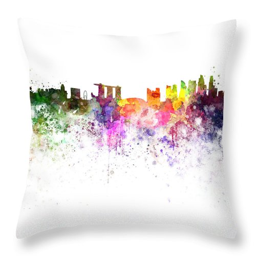 Singapore Skyline Throw Pillow featuring the painting Singapore Skyline In Watercolour On White Background by Pablo Romero