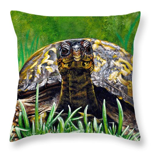 Turtle Throw Pillow featuring the painting Smile by Cara Bevan