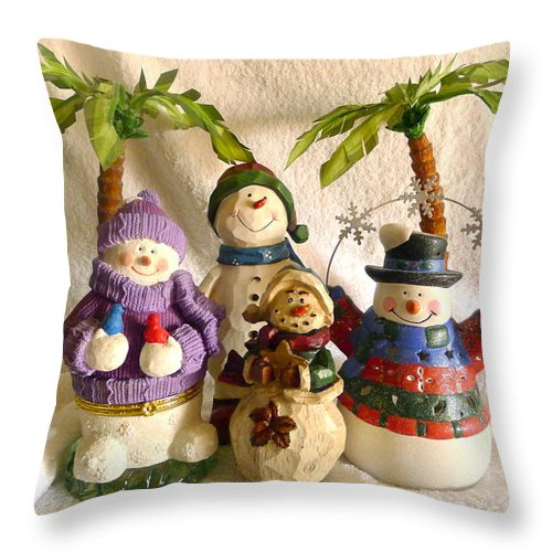 Snowman Throw Pillow featuring the photograph Snowbirds by Denise Mazzocco