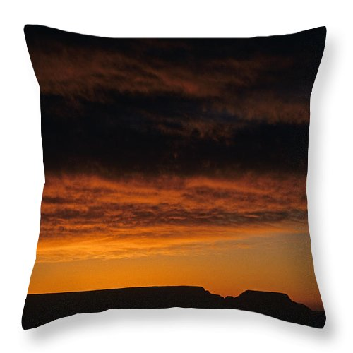 Grand Canyon National Park Throw Pillow featuring the photograph South Rim Grand Canyon Dramatic Clouds Sunset With Silhouetted R by Jim Corwin