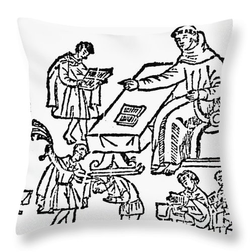 1612 Throw Pillow featuring the painting Spanish Missionary, 1612 by Granger