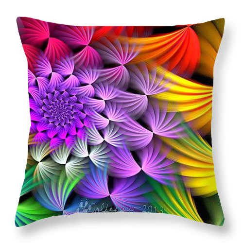 Abstract Throw Pillow featuring the digital art Spiral Swirls by Peggi Wolfe