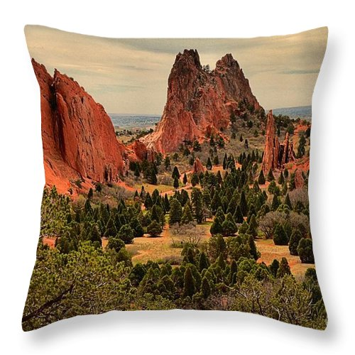 Garden Of The Gods Throw Pillow featuring the photograph Spires In The Garden by Adam Jewell
