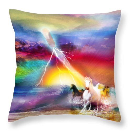 Holy Spirit War Horse Mighty Kingdom Of God Throw Pillow featuring the digital art Spirit Breath by Dolores Develde