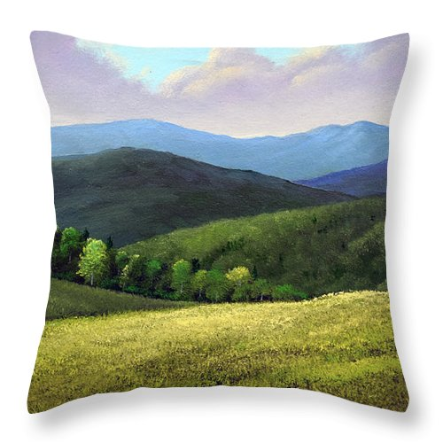 Spring Hills Throw Pillow featuring the painting Spring Hills by Frank Wilson