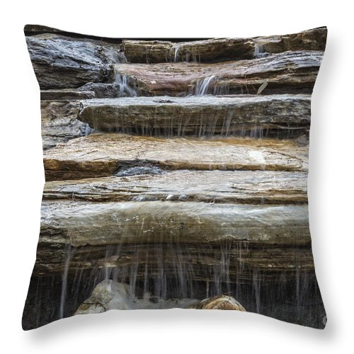 Rock Waterfall Throw Pillow featuring the photograph Spring Waterfall by Michael Waters