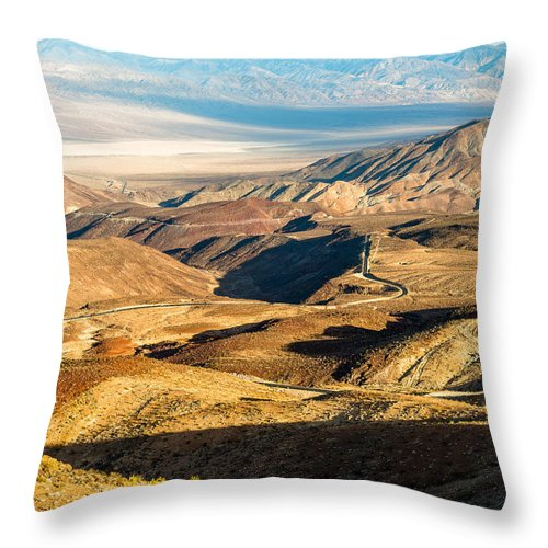 America Throw Pillow featuring the photograph State Highway 190 by Alyaksandr Stzhalkouski