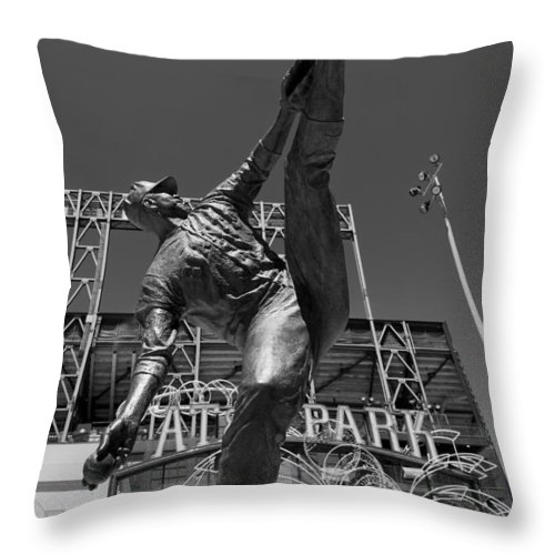 At&t Park Throw Pillow featuring the photograph Statue Of Juan Marichal Outside Atandt Park San Francisco by Mountain Dreams