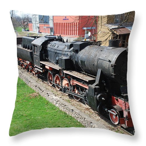Steam Engine Throw Pillow featuring the photograph Steam Engine by Oleg Konin