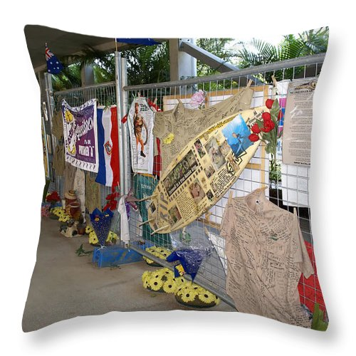 Australia Queensland Qld Throw Pillow featuring the digital art Steve Irwin Memorial by Carol Ailles