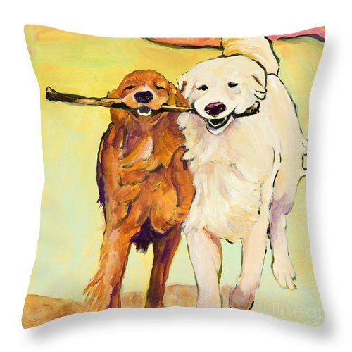 Pat Saunders-white Throw Pillow featuring the painting Stick With Me by Pat Saunders-White