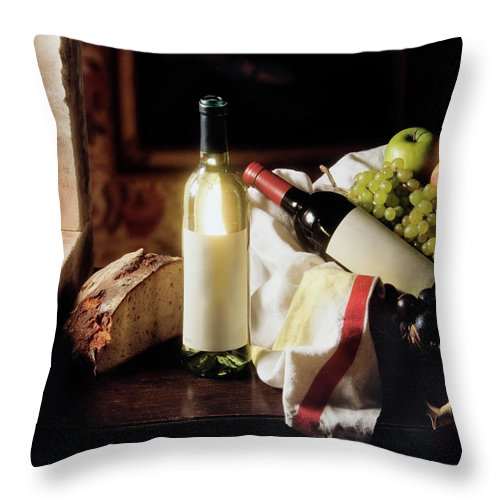 Golden Delicious Apple Throw Pillow featuring the photograph Still Life With Two Wine Bottles by C-vino