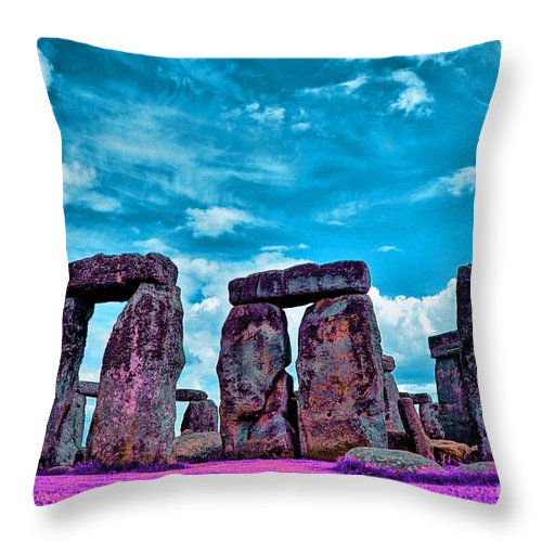 Stonehenge In The English County Of Wiltshire Ir Throw Pillow featuring the photograph Stonehenge In The English County Of Wiltshire by Celestial Images