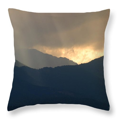 Pikes Peak Throw Pillow featuring the photograph Stormy Pikes Peak by Steve Krull