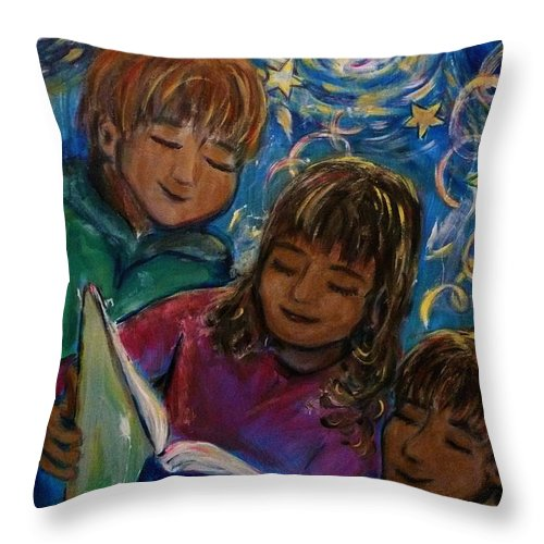 Children Throw Pillow featuring the painting Story Time 1 by Regina Walsh
