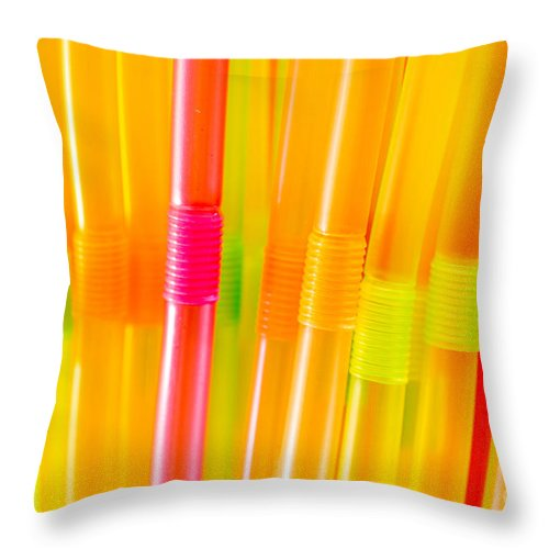 Background Throw Pillow featuring the photograph Straws by Viktor Pravdica