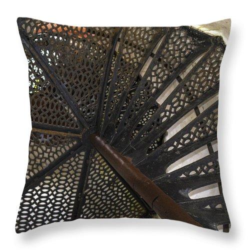 Usa Throw Pillow featuring the photograph Sturgeon Point Lighthouse Spiral Staircase by LeeAnn McLaneGoetz McLaneGoetzStudioLLCcom