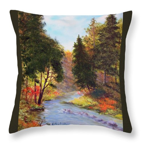 Sturgeon River Throw Pillow featuring the painting Sturgeon River by Kathleen Luther