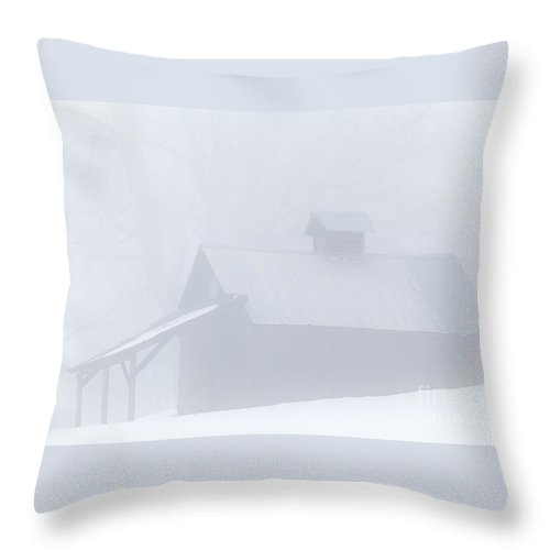 Winter Throw Pillow featuring the photograph Sugarhouse Fog by Alan L Graham