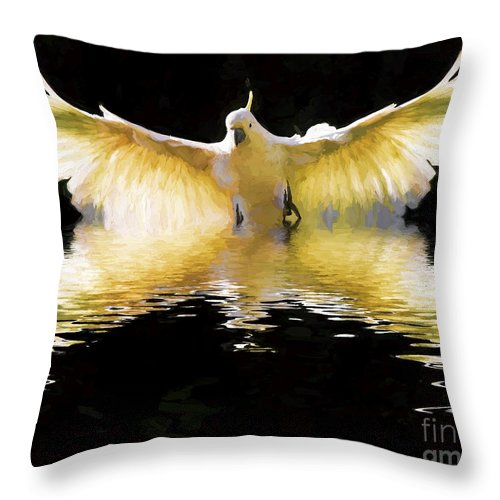 Abstract Throw Pillow featuring the photograph Sulphur crested cockatoo in flight by Sheila Smart Fine Art Photography