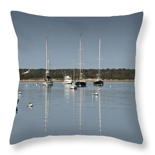 Boat Throw Pillow featuring the photograph Sunrise At Red Brook Harbor by Dennis Coates