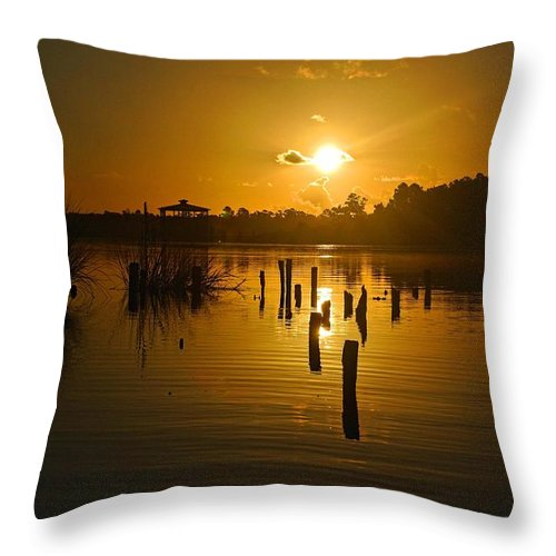 Palm Throw Pillow featuring the digital art Sunrise On The Bon Secour River by Michael Thomas