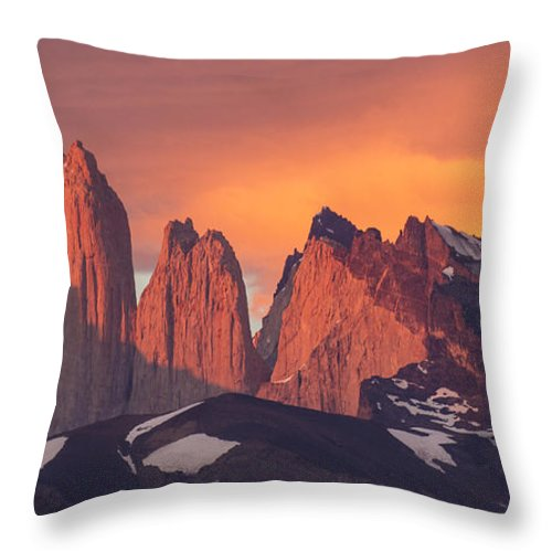 Feb0514 Throw Pillow featuring the photograph Sunrise Torres Del Paine Np Chile by Matthias Breiter