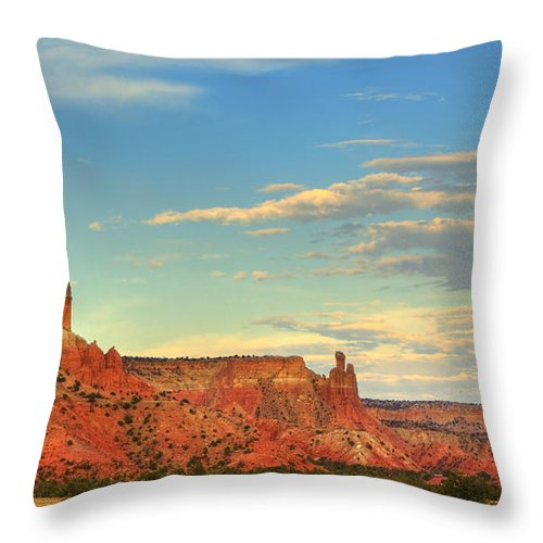 Georgia O'keefe Throw Pillow featuring the photograph Sunset At Ghost Ranch by Alan Vance Ley
