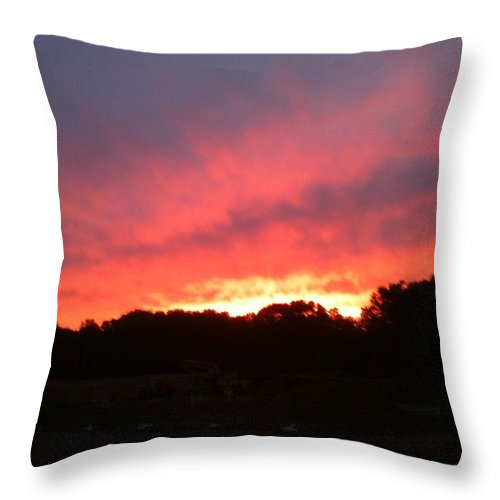 Sunset Throw Pillow featuring the photograph Sunset Over The Mountain by Elisbeth Caswell