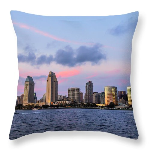 Sunset View Of San Diego Bay Throw Pillow featuring the photograph Sunset San Diego Bay by Michelle Choi