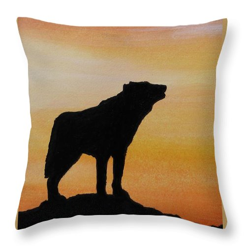 Wolf Throw Pillow featuring the painting Sunset Silhouette by Lucy Deane