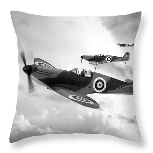 Supermarine Spitfire Mk I Throw Pillow featuring the digital art Supermarine Spitfire Mk I by J Biggadike