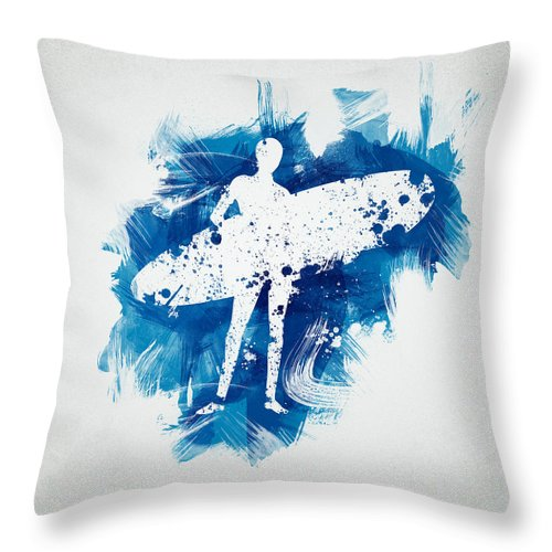 Action Throw Pillow featuring the digital art Surfer Girl by Aged Pixel