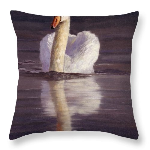 Swan Throw Pillow featuring the painting Swan by David Stribbling