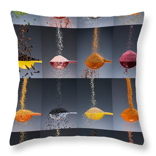 Kitchen Throw Pillow featuring the photograph 1 Tablespoon Flavor Collage by Steve Gadomski