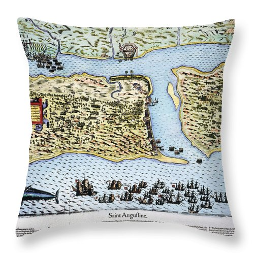 1586 Throw Pillow featuring the photograph Taking Of St. Augustine by Granger