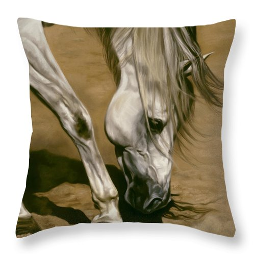 White Horse Throw Pillow featuring the pastel Territory by Kim McElroy