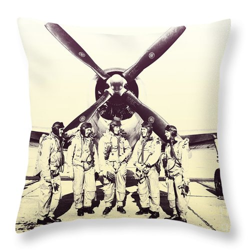 Test Pilots Throw Pillow featuring the photograph Test Pilots With P-47 Thunderbolt Fighter by R Muirhead Art