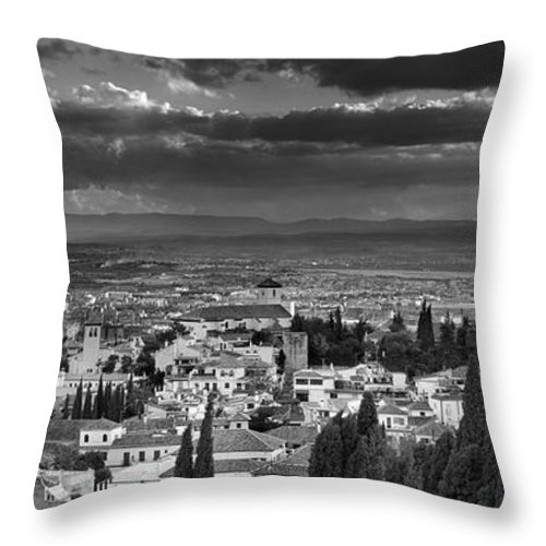 The Alhambra Throw Pillow featuring the photograph The Alhambra And Albaycin In Granada by Guido Montanes Castillo