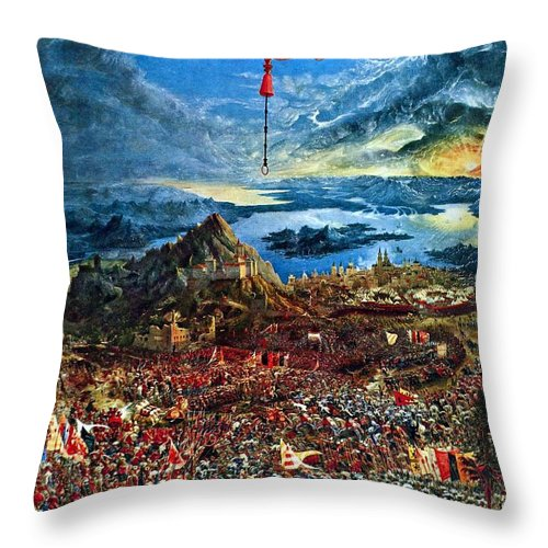 Albrecht Altdorfer Throw Pillow featuring the painting The Battle Of Issus by Celestial Images