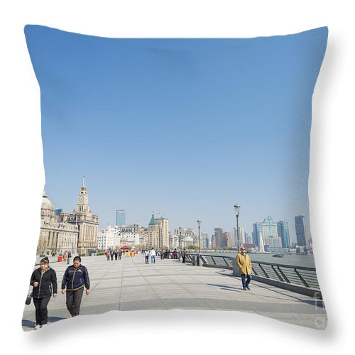 Architecture Throw Pillow featuring the photograph The Bund In Shanghai China by Jacek Malipan