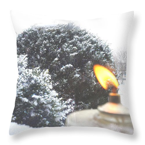 Ice Throw Pillow featuring the photograph The Candle In The Snow by Celestial Images