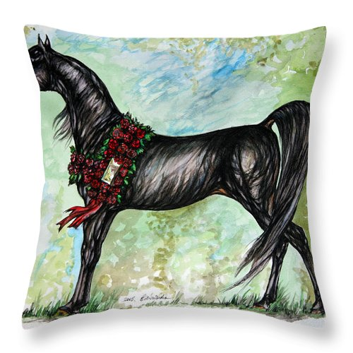 Horse Throw Pillow featuring the painting The Champion by Angel Ciesniarska