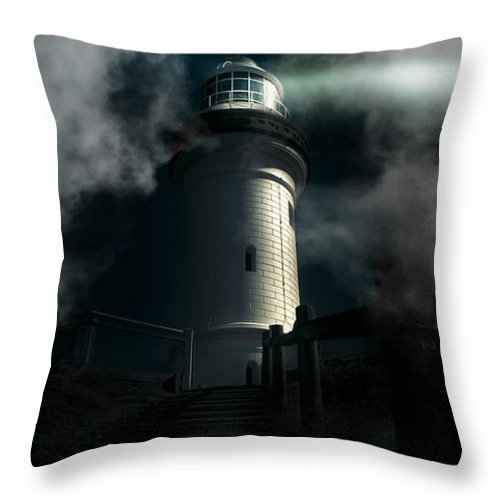 Architecture Throw Pillow featuring the photograph The Dark Atmospheric Lighthouse by Jorgo Photography - Wall Art Gallery