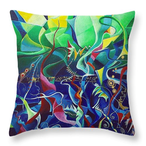 Darius Milhaud Throw Pillow featuring the painting the dreams of Jacob by Wolfgang Schweizer