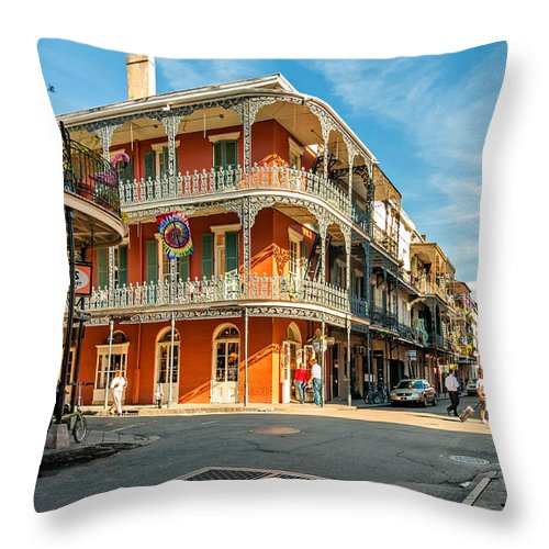Nola Throw Pillow featuring the photograph The French Quarter by Steve Harrington