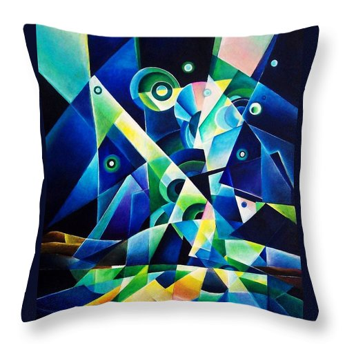 Gates Acrylics Abstract Throw Pillow featuring the painting The Gates by Wolfgang Schweizer
